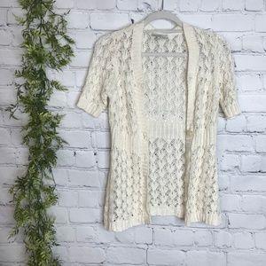 LOFT Sweaters - Ann Taylor Loft Crochet Cream V Neck Cardigan S